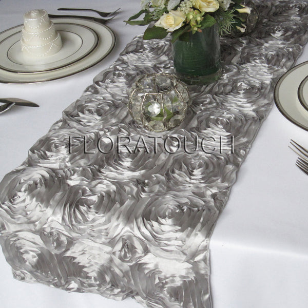 Silver Satin Rosette Table Runner