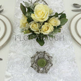 White Satin Rosette Table Runner