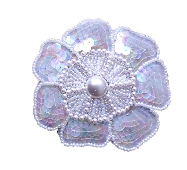 Bridal Motif White Pearl Sequins Flower Applique