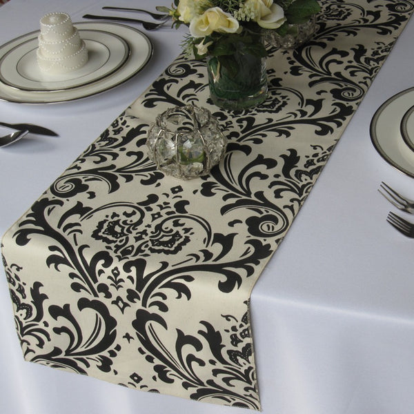 Traditions Ivory and Black Damask Table Runner