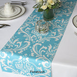 Traditions White Damask on Light Turquoise Pool blue Table Runner