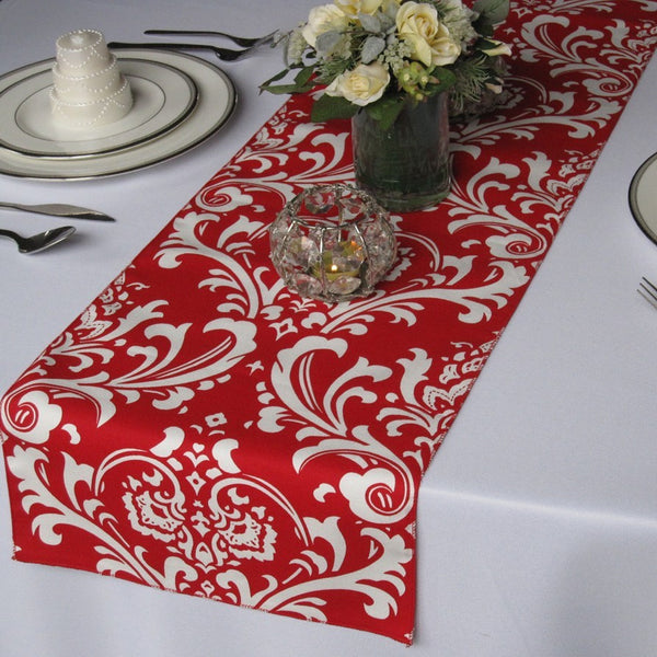 Traditions Red and White Damask Table Runner