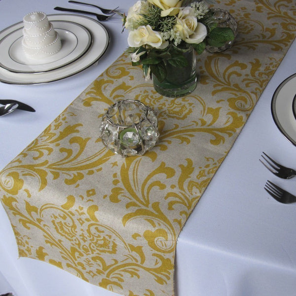 Traditions Yellow on Linen Damask Table Runner