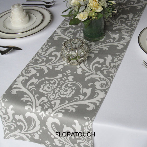 Traditions Gray and White Damask Table Runner