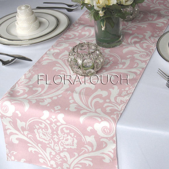 Traditions Light Pink and White Damask Table Runner