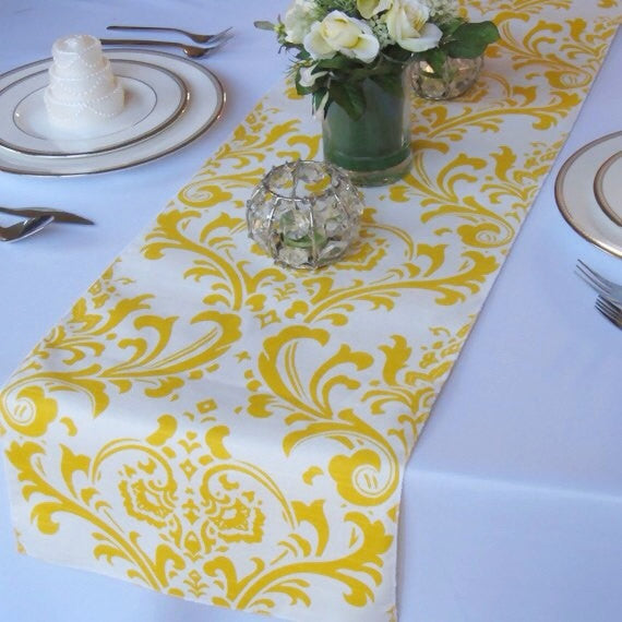 Traditions Yellow on White Damask Table Runner
