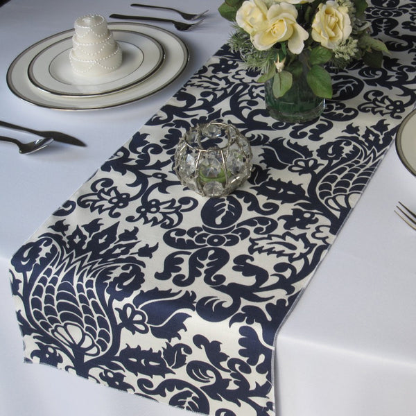 Amsterdam Navy Blue on White Damask Table Runner