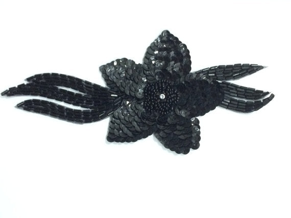 Black Beaded Sequins Applique Patch Flower