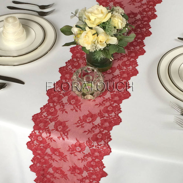 Dark Red Burgundy Lace Table Runner Wedding Table Runner LBurg03