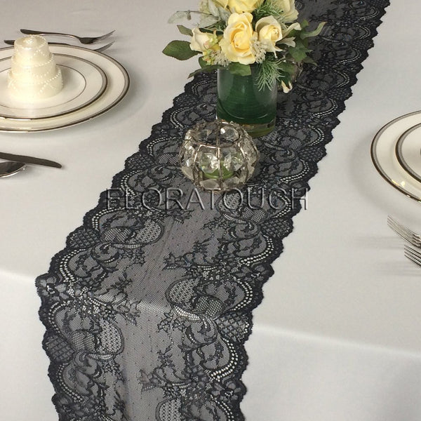 Black Lace Table Runner Wedding Table Runner Style LBlk03
