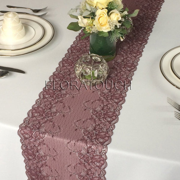 "Dark Burgundy Lace Table Runner Wedding Table Runner LBurg05 - 9.25"" wide"