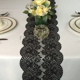 Black Floral Lace Table Runner with Large Scalloped Edge Style LBlk02