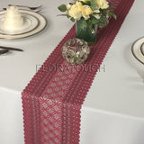 "Burgundy Lace Table Runner Wedding Table Runner LBurg03 - 7.75"" wide"