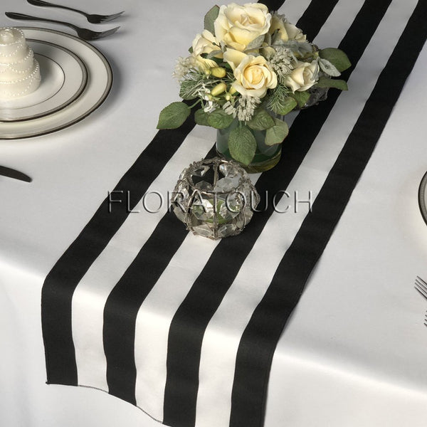 Black and White Striped Table Runner With Black Stripes on the Borders 10.5in Wide