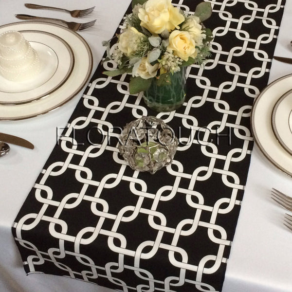 Black and White Chain Link Table Runner