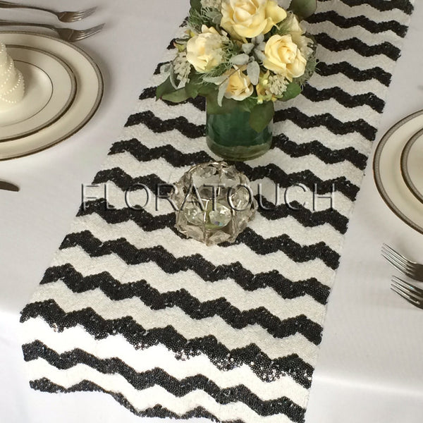 Black and White Chevron Sequin Table Runner