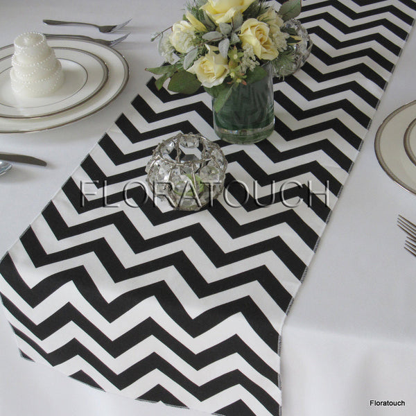 Black And White Chevron Table Runner