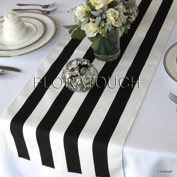 Black and White Striped Table Runner with White Stripes on the Borders 13in wide