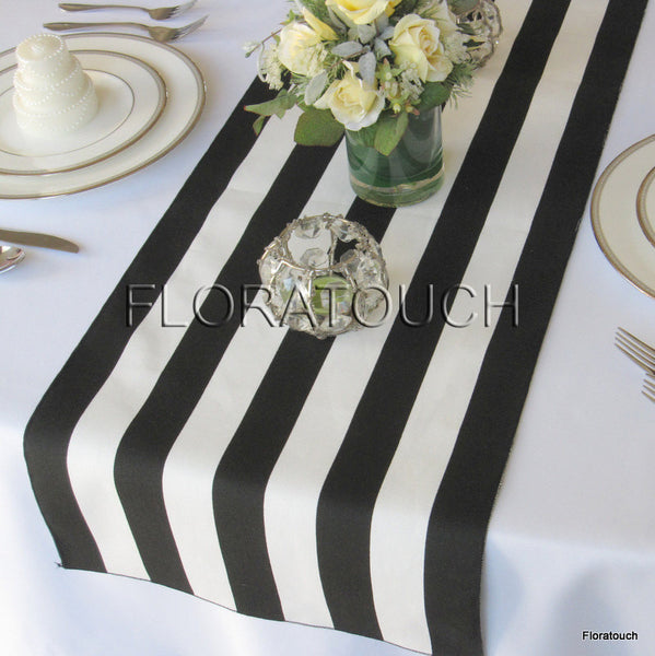 Black and White Striped Table Runner With Black Stripes on the Borders 13in wide