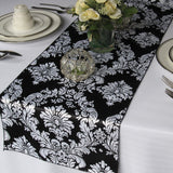 Victorian White on Black Satin Damask Table Runner