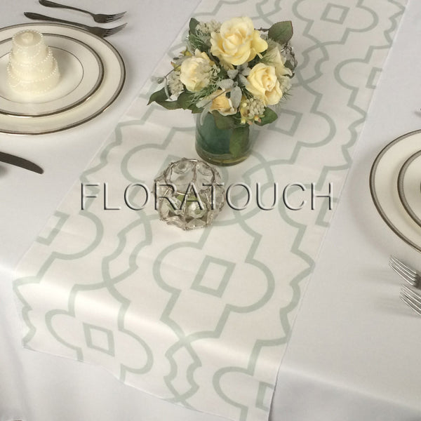 Bordeaux White and Artichoke Green Damask Table Runner