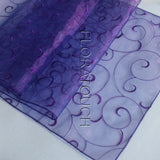 Bluish Purple Swirl Organza Table Runner