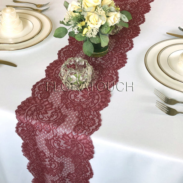 Burgundy Paisley Lace Table Runner Wedding Table Runner LBurg10