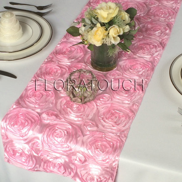 Candy Pink Satin Rosette Table Runner