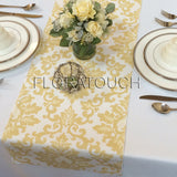 Cecelia Saffron Yellow and White Damask Table Runner