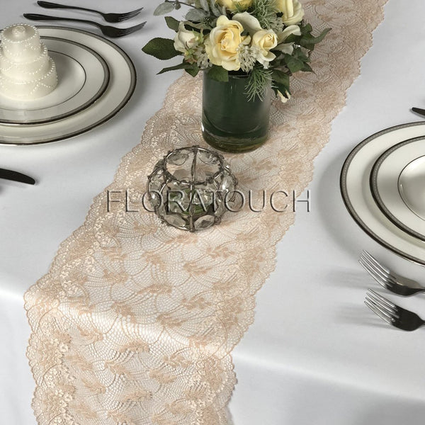 Champagne Gold Lace Table Runner Wedding Table Runner LCG06