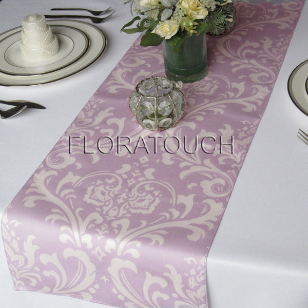 Traditions Lavender and White Damask Table Runner