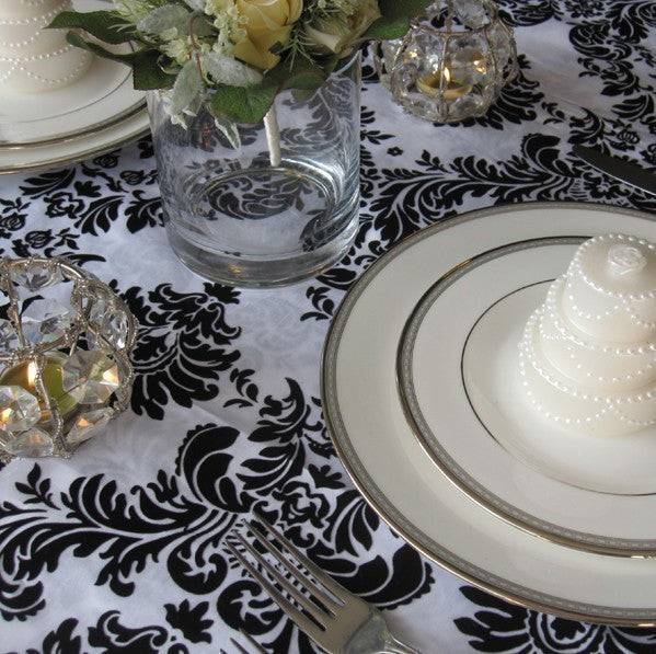 Victorian White and Black Flocked Damask Taffeta Table Overlay