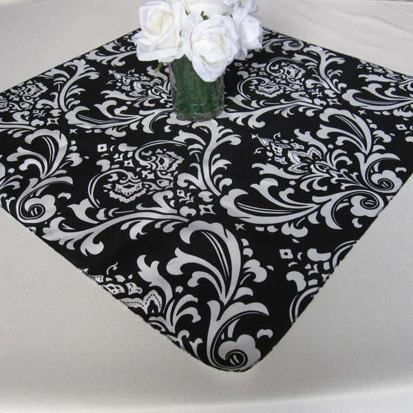 Traditions Black and White Damask Table Overlay
