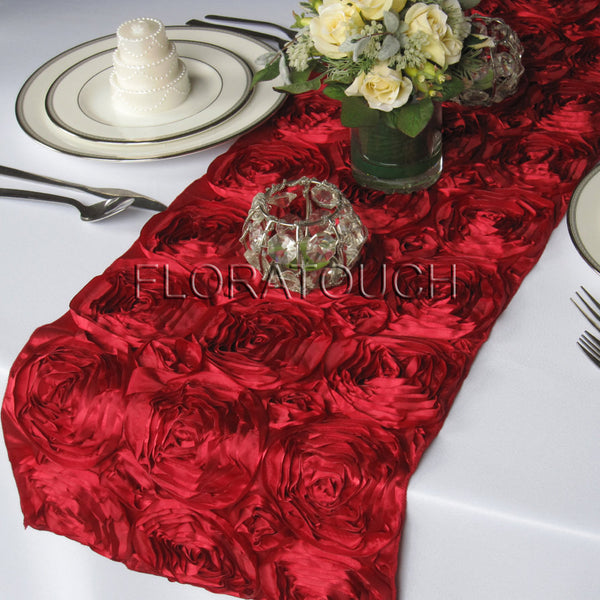 Dark Red Satin Rosette Table Runner
