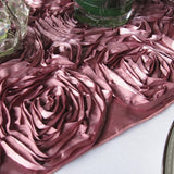 Dusty Rose Satin Rosette Table Runner