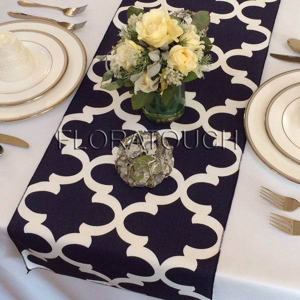 Fynn Navy and White Damask Table Runner Moroccan Quatrefoil Lattice