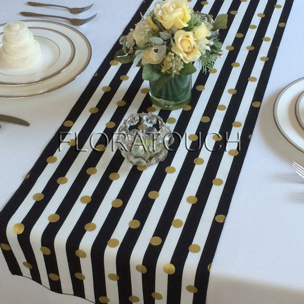 Black and White Striped with Gold Dots Table Runner