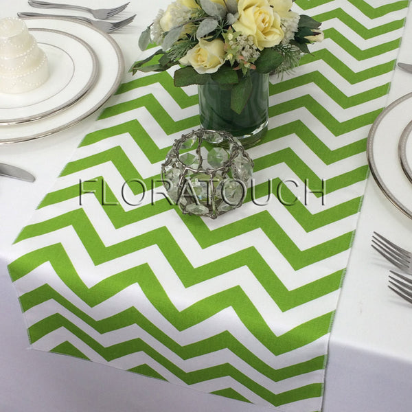 Green And White Chevron Table Runner