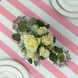 Pink and White Striped Table Runner with pink stripes on the borders