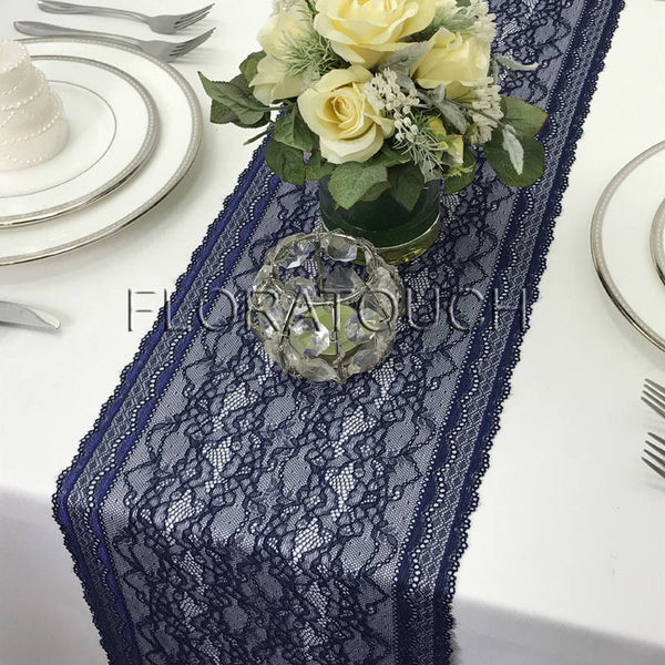 "Navy Lace Table Runner With Double Scalloped Edge 9.25"" Wide"