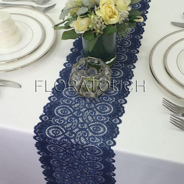 "Navy Lace Table Runner With Scalloped Edge 7"" Wide"