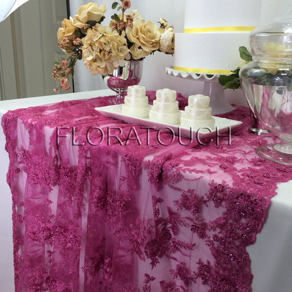 Fuschia Hot Pink Beaded Lace Sequin Tablecloth with Scalloped Edge