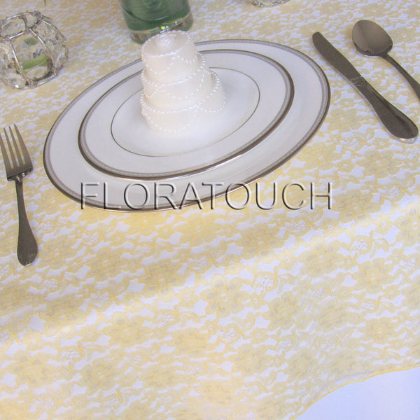 Light Yellow Lace Tablecloth Table Overlay