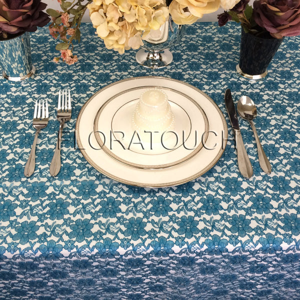 Peacock Blue Lace Tablecloth Table Overlay