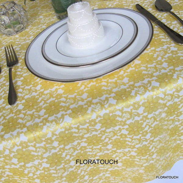 Yellow Lace Tablecloth Table Overlay