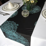 Black Aqua Medallion Flocked Damask Taffeta Table Runner
