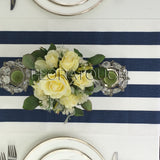 Navy and White Stripe Table Runner with white stripes on the borders