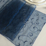 Navy Swirl Organza Table Runner