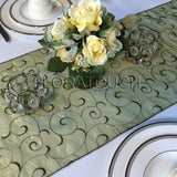 Olive Swirl Organza Table Runner