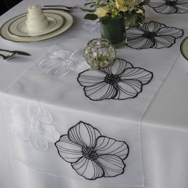 Black and White Large Flower on Sheer Organza Table Runner